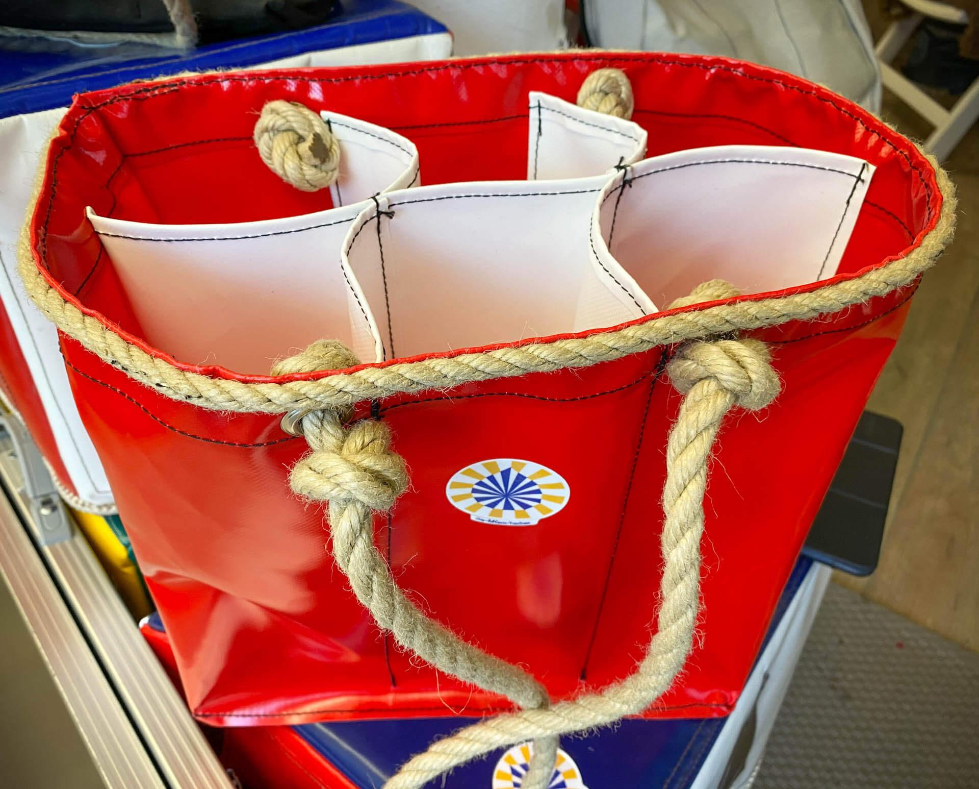 Maritime rote Getränketasche mit Trägern