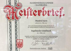 Zertifikat Segelmachermeister